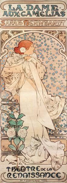 Alphonse Mucha - Die Kameliendame mit Sarah Bernhardt.  Plakat für das Theatre de la Renaissance.