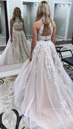 Two Pieces Appliques Elegant 2018 Prom Dresses,Prom Dresses,Formal Women Dress,prom dress,Prom dress F113 by Cocopromdress, $175.00 USD