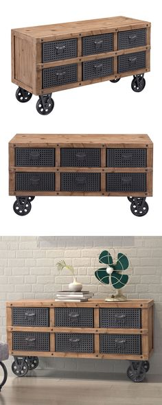Upgrade your storage with vintage inspiration. Our Grover Cabinet is crafted with fir wood and features six industrial-style metal mesh drawers. Rolling casters add charm to this statement-making desig... Find the Grover Cabinet, as seen in the Vintage Americana Collection at http://dotandbo.com/collections/vintage-americana-1?utm_source=pinterest&utm_medium=organic&db_sku=124530