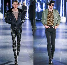 Saint Laurent 2015-2016 Fall Autumn Winter Mens Runway Catwalk Looks - Mode à Paris Fashion Week Mode Masculine France - Mod Rocker Black Slim Skinny Denim Jeans Motorcycle Biker Leather Zebra Leopard Cheetah Crocodile Alligator Outerwear Coat Boots Wool Furry Lace Metallic Trench Coat Cape Cloak Knit Sweater Jumper Stripes Polka Dots Blazer Tuxedo Bomber Jacket Zippers Slashed Zigzag