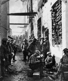 Australian troops amidst the devastation of war in Ypres after the Battle of Passchendaele (sometimes referred to as the Third Battle of Ypres), 1917