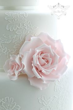 Pale Pink Rose on a White (Lace) Cake - Flickr
