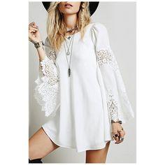Trendy Bell Long Sleeve Lace Chiffon Patchwork Plain Mini A-Line Dress ($26) ❤ liked on Polyvore featuring dresses, long sleeve dress, long sleeve short dress, white chiffon dress, long lace dress and long chiffon dress
