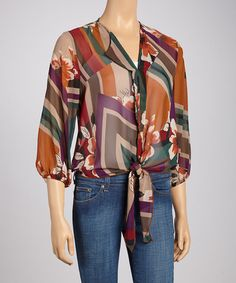 Take a look at this Rust & Purple Geometric Floral Top by Moa Collection on #zulily today!