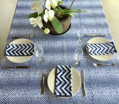"""TABLE CLOTH - Hand stamp batik on indigo dyed cotton.  59"""" x 120"""" from d-bali.com Shown with NAPKINS (batik pattern ZZB) Stamp batik on indigo dyed cotton  21"""" sq. Sets of 4,8, 12"""