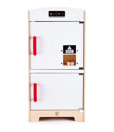 The White Fridge freezer includes cupboard with storage shelf ice machine and five ice cubes. Realistic ice machine features button that dispenses the cubes once pressed just like the real thing. The ice cubes can be reloaded from inside the fridge. Storage Shelves, Locker Storage, Hape Toys, Play Kitchen Sets, Toy Kitchen, Wooden Cubes, Cabinet Styles, Holiday Gift Guide, Cupboard
