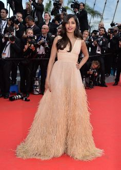 """Freida Pinto dazzled in a nude dress with sequins and feathers at the premiere of """"Saint Laurent"""" in Cannes on May 17, 2014."""