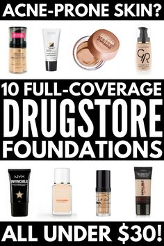 Looking for the best full coverage drugstore foundation for acne? We've got you covered. We're sharing 10 of the best drugstore foundation products and brands to help cover up acne and breakouts, which are lightweight while still providing a luminous glow. Perfect for combination and for oily skin, these drugstore makeup products will give you a dewy look without creating excess oil, allowing you to look your best on a budget!