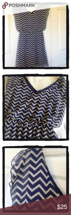 Navy Blue & White Dress 100% Polyester, above the knee, sheer material, lightweight. Dress it up or down. Add a belt and accesirize. Speechless Dresses