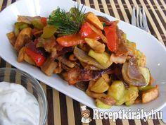 Csípős, zöldséges-serpenyős csirke   Receptkirály.hu Kung Pao Chicken, Pork, Menu, Dishes, Ethnic Recipes, Sweet, Kale Stir Fry, Menu Board Design, Candy