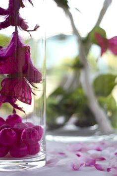 Side vase close-up with purple feathers, pink butterflies and balls. Purple and Pink. Photo Credit : A. Mordant  Contact us at http://www.wedotahiti.com/en/tahiti-wedding-planner-contact-form/ #tahitiweddingplanner #tahitiweddingpackage