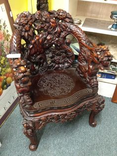 A Chinese carved Hongmu style 'dragon' throne chair, early to mid century Royal Furniture, Oriental Furniture, Victorian Furniture, Unique Furniture, Wood Furniture, Vintage Furniture, Asian Furniture, Wood Carving Faces, Wood Carving Designs
