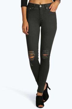 #FashionVault #boohoo #Sale #Women - Check this : boohoo Loren Mid Rise Distressed Knee Skinny Jeans - khaki for $ USD