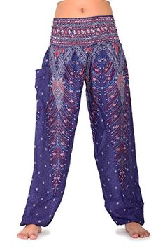 5ff26c35c2172 Bangkokpants Women's Boho Pants Peacock Design One Size Fits US Size 0-12 --