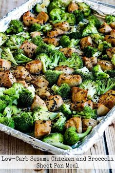 This Low-Carb Sesame Chicken and Broccoli Sheet Pan Meal has all the flavors people love in take-out sesame chicken without the carbs! And this low-carb sheet pan meal is also Keto low-glycemic gluten-free (with gluten-free soy sauce dairy-free and S Low Carb Meal Plan, Low Carb Diet, Low Carbohydrate Diet, Low Carb Recipes, Diet Recipes, Healthy Recipes, Carb Free Meals, Quick Recipes, Chicken Recipes