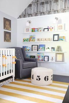 Modern Library-inspired Nursery - love the modern pieces paired with the book wallpaper. Such a fun room!