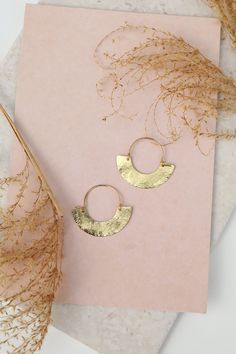 Minimal brass hoop earrings made from brass. Two sizes available.Made in ...
