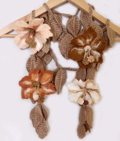 Knit/Felted Wool Leaves/Flowers Scarf by allmadewithlove on Etsy
