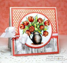 Tulips in Hobnail Pitcher Digital Stamp Set | Power Poppy by Marcella Hawley, card design by Cindy Lawrence.