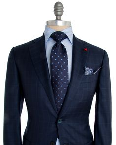 Isaia | Blue Check with Aqua Windowpane Suit | Apparel | Men's