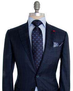 Isaia | Blue Check with Aqua Windowpane Suit | Apparel | Men's