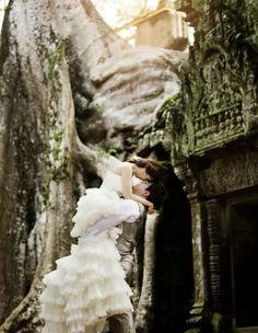 Pre wedding photography at Angkor Wat temples Siem Reap Cambodia