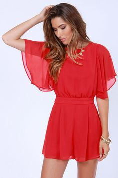red shorts jumpsuit | Pretty Red Romper - Short Sleeve Romper - $49.00