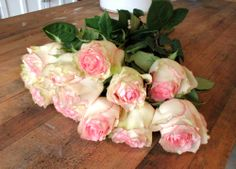 Cream and Pink Ruffled Roses