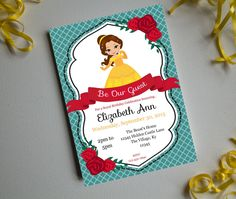 A Belle's Birthday-Printable Invitation-Birthday Party Invite-INSTANT DOWNLOAD-Editable-Princess-Belle-Beauty-Beast-Beauty and the Beast by PaperWillowDesigns on Etsy