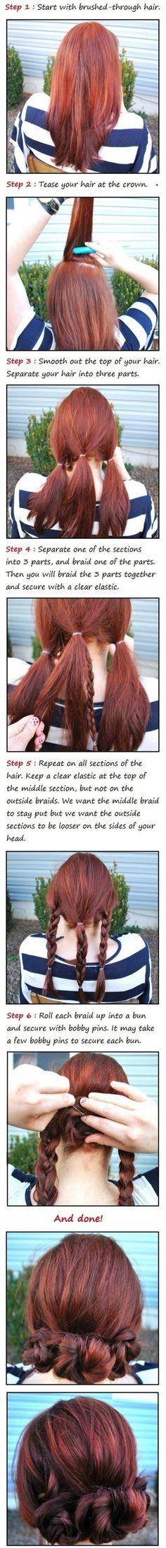 4. #Simple Braid Buns - 30 #Sensational Second Day Hair Ideas ... → Hair #Ideas