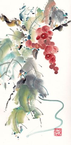 3Katdesign   Chinese Brush Painting of Red Grapes and Vines Original