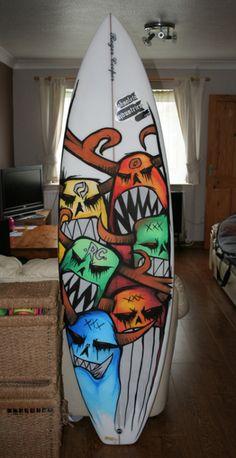 Obsolete Industries Alternative Clothing: New Posca art. Surfboard Painting, Surfboard Art, Surfboard Drawing, Skateboard Deck Art, Skateboard Design, Surfboard Blanks, Custom Surfboards, Posca Art, Surf Design