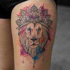 @bangbangnyc #lion #328broome #inkedgirls #ladytattooers #inkedmag #freshlyinked #fashion #style #artistic #watercolor #style #sexy #cute #instalike #bestink #doubletap