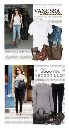 """""""Vanessa Minnillo (by Muna Rina)"""" by munarina ❤ liked on Polyvore featuring Levi's, Stila, Kain Label, Louis Vuitton, Miu Miu, ankle boots, ripped jeans, pocket tee, celebrity style and lv"""