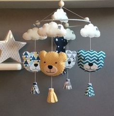 "Items similar to Decorative baby mobile ""bears"" in felt and assorted fabrics on Etsy - Decorative mobile to hang to decorate a nursery / baby room … It is entirely handmade in felt and - Mobiles En Crochet, Crochet Mobile, Felt Crafts, Diy And Crafts, Crafts For Kids, Diy Bebe, Baby Couture, Baby Art, Baby Room Decor"