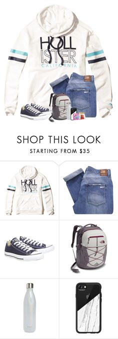"""""""My dad bought 2 more goats today, one of them is a baby and is so cute! I will try to get a picture of them either today or tomorrow so I can show y'all!"""" by preppyandsouthern17 ❤ liked on Polyvore featuring Hollister Co., Nobody Denim, Converse, The North Face, S'well, Casetify and CO"""