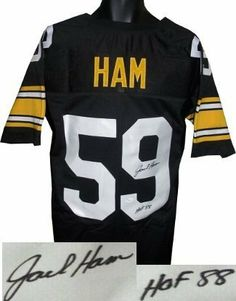 Jack Ham Autographed/Hand Signed Pittsburgh Steelers Black Prostyle Jersey HOF 88- JSA Hologram by Hall of Fame Memorabilia. $212.95. Jack Ham was the Pittsburgh Steelers second-round draft pick in the 1971 NFL Draft out of Penn State where he was an All-American. He won the starting left linebacker job as a rookie. He was First-team All-Pro six years and was named to eight straight Pro Bowls. Ham was a member of 4 Super Bowl winning teams during his 12 year c...