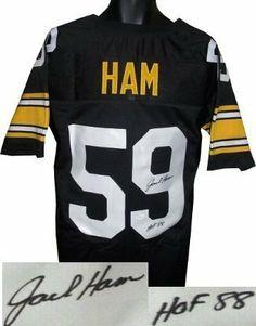 40aef7fc4ef Jack Ham Autographed/Hand Signed Pittsburgh Steelers Black Prostyle Jersey  HOF 88- JSA Hologram