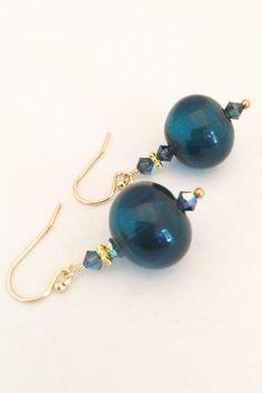 Dark Blue Glass Earrings  Blue Lampwork by MyPrettyChicBoutique