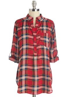 Where It's Mat Top in Red Plaid. Finding the perfect shade and texture of frame is one of lifes little pleasures - much the same is this plaid top. #red #modcloth
