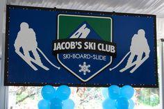 Ski Themed Bar Mitzvah Backdrop - Custom Party Backdrops & Murals