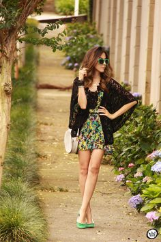 floral dress with lace kimono