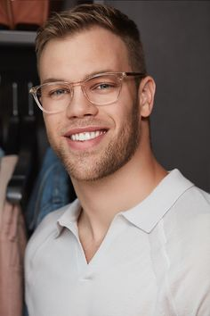 """Taylor Hall wears Louise Clay.  These clear glasses are ultra-wearable and will have you pulling off """"cool-guy"""" style easily. Their square frame and slender construction means that although these are noticeably stylish, they never veer into over-the-top turf. The best part about these? They're universally flattering, but especially so on men with wider faces."""