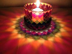 glass candle holder,Boho Wedding Decor, tea light holder,hand Painted candle holder,unique gift, bright colored glass, designer holder