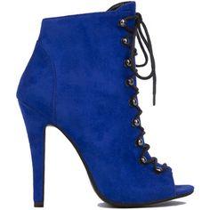 AKIRA Black Label Lace Up Peep Toe Jordan Booties - Blue Suede