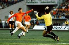 Holland 4 Argentina 0 in 1974 in Gelsenkirchen. Johan Cruyff scores a magnificent goal in the Round 2, Group A clash at the World Cup Finals.