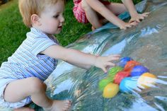 homemade water bed/mat (Plastic + duct tape + water) great sensory activity