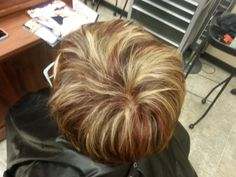 Blonde and copper highlights blended in with a warm brown hair color. Aveda color.