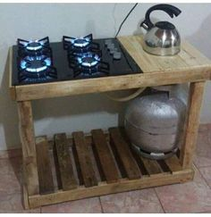 Wonderful Ideas For Wooden Pallet Grills And Furniture For Your Garden Diy Outdoor Furniture, Furniture For You, Wooden Kitchen, Diy Kitchen, Kitchen Cabinet Design, Cabin Homes, Wooden Pallets, Diy Table, Kitchen Organization