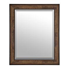 Woodgrain Oak Framed Mirror 27 5x33 5 In